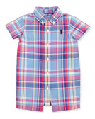 Ralph Lauren Childrenswear Multicolor Plaid Poplin Playsuit, Sizes 3-9 Months