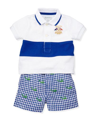 Ralph Lauren Childrenswear Single Striped Polo & Schiffli Shorts Set, Sizes 3-12 Months