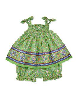 Ralph Lauren Childrenswear Smocked Sunset-Print Dress & Bloomers Set, Green, Sizes 3-12 Months