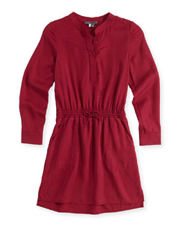Tencel® Drawstring Shirtdress, Pink, Girls' 4-6X