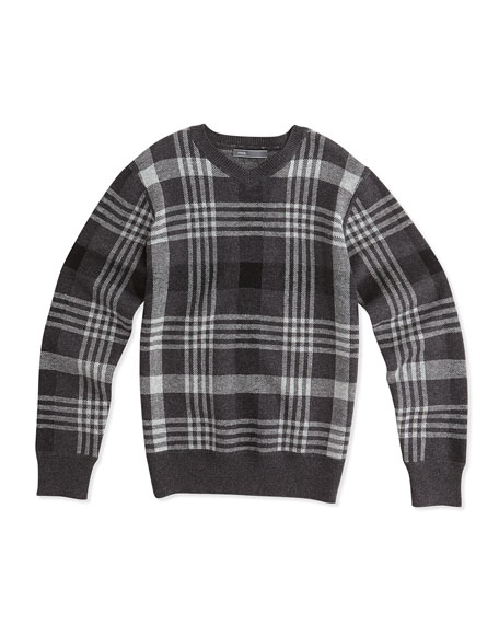 Vince Plaid Jacquard V-Neck Sweater, Charcoal, Sizes 4-7
