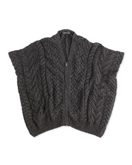 Vince Cable-Knit Zip Poncho, Charcoal, Girls' S-XL
