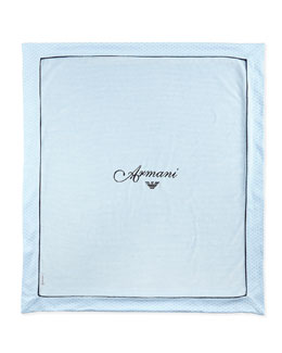 Armani Junior Embroidered Logo-Print Baby Blanket, Blue