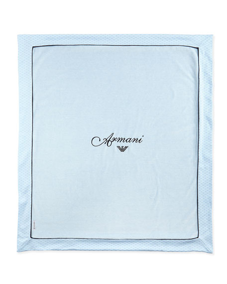 3c8b95c6c294 Armani Junior Embroidered Logo Print Baby Blanket Blue Neiman Marcus