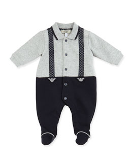 Armani Junior Printed Faux-Suspender Footie, Gray/Navy, Sizes 3-12 Months