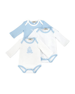 Armani Junior Three-Piece Logo Playsuit Set, Blue/White