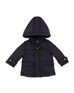 Armani Junior Hooded Nylon Dressy Puffer Jacket, Marine Blue, Sizes 3-24 Months