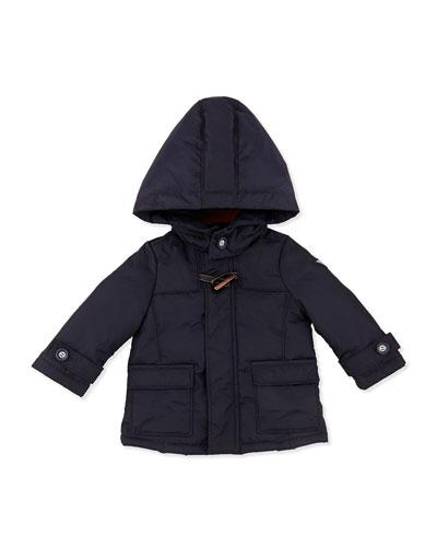 Armani Junior Hooded Nylon Dressy Puffer Jacket, Marine Blue, Sizes 3-24 Months