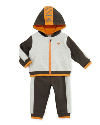 Armani Junior Two-Piece Logo Track Suit, Navy/Orange/Gray, Sizes 3-24 Months