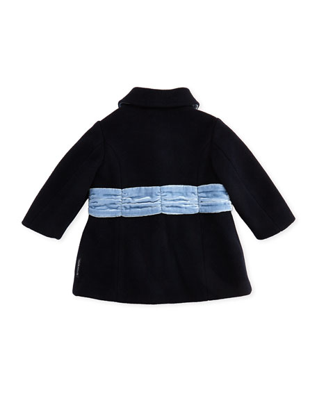 Felted Wool Dress Coat with Velvet Bow, True Blue, 3-24 Months
