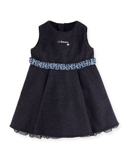 Armani Junior Heathered Ruffle Dress, Royal Blue, 3-24 Months