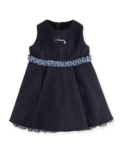 Armani Junior Heathered Ruffle Dress, Royal Blue, 3-24 Months
