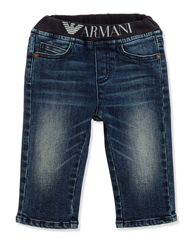 Armani Junior Logo Denim Jeans, Sizes 3-24 Months