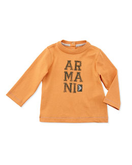 Armani Junior Long-Sleeve Jersey Logo Tee, Orange, Sizes 3-24 Months