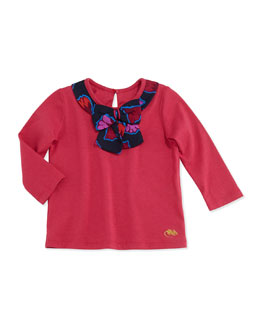Little Marc Jacobs Jersey Bow-Neck Top, Red, 2T-3T