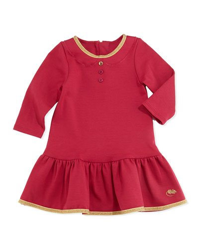 Little Marc Jacobs Milano Shimmer Trimmed Flounce Dress, Red, Girls Sizes 3-18 Months