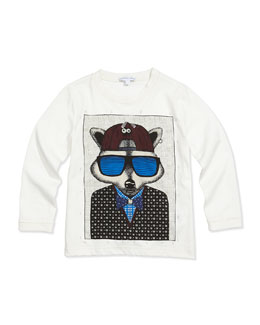 Little Marc Jacobs Raccoon-Print Long-Sleeve Tee, Sizes 2-5