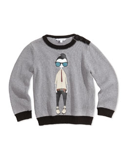 Little Marc Jacobs Cool Boy Printed Sweater, Gray, Sizes 2-5