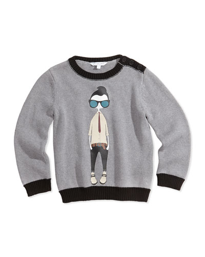 Little Marc Jacobs Cool Boy Printed Sweater, Gray, Size 12