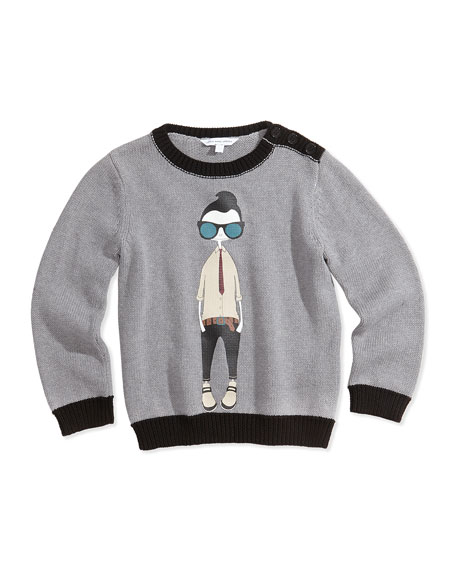 Cool Boy Printed Sweater, Gray, Size 12