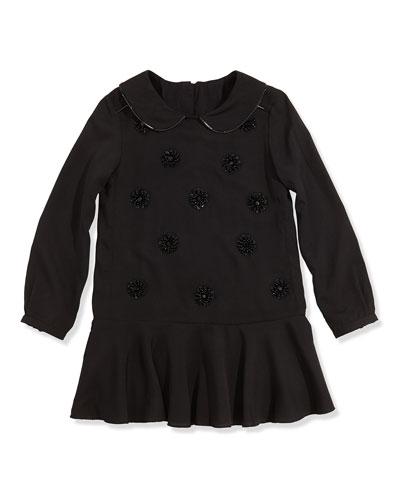 Little Marc Jacobs Girls' Embellished Crepe Dress, Black, 2-5