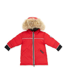 Canada Goose Reese Parka with Fur-Trim, Red, 0-24 Months
