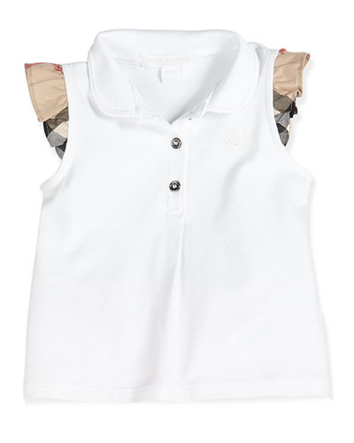 Check-Flutter-Sleeve Pique Tank, White, 3-24 Months