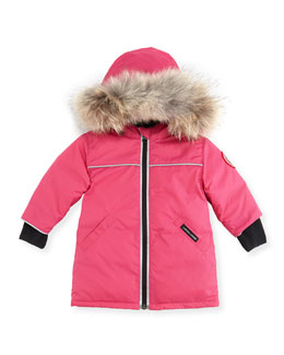 Canada Goose Reese Parka with Fur-Trim, Pink, 0-24 Months