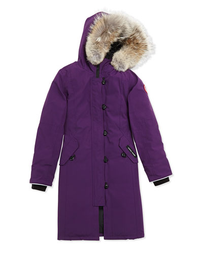 Canada Goose Youth Brittania Parka with Removable Fur Trim, Arctic Dusk, XS-XL