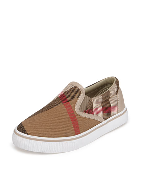 Burberry Linus Check Slip-On Sneaker, Light Honey, Youth