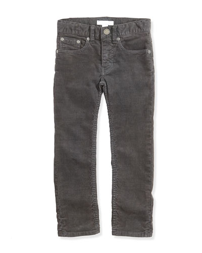 Burberry Skinny Corduroy Pants, Flint, Boys' 4Y-14Y