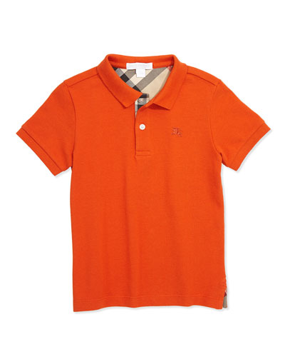 Burberry Classic Pique Polo, Bright Clementine, 4Y-14Y