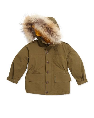 Burberry Fur-Trimmed Parka with Removable Liner, Military Olive, 4Y-14Y