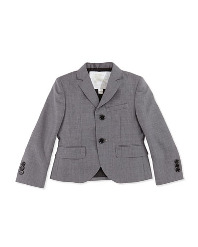 Twill Suit Jacket, Gray, Sizes 4Y-14Y