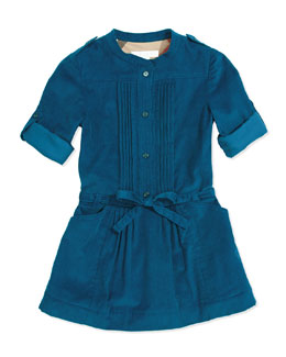 Burberry Pleated Corduroy Dress, Dark Tuquoise, 4Y-14Y