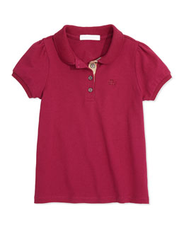 Burberry Girls' Check-Placket Polo, Fritillary Pink, 4Y-14Y