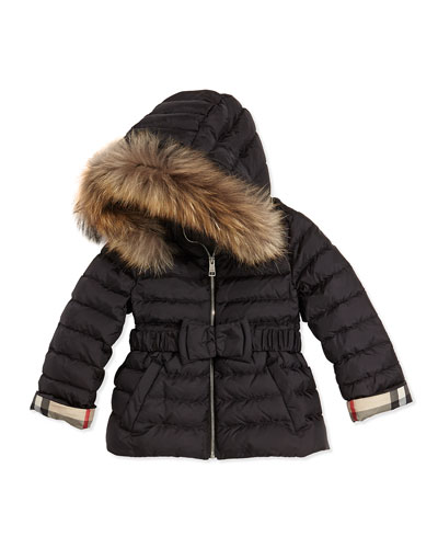Burberry Fur-Trimmed Bow-Belt Puffer Coat, Black, 4Y-14Y