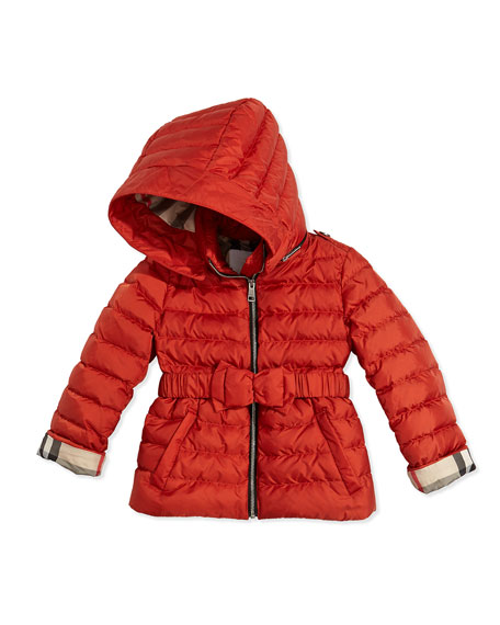 Fur-Trimmed Bow-Belt Puffer Coat, Bright Russet, 4Y-14Y