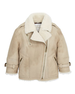 Burberry Shearling Leather Biker Jacket,  6Y-10Y