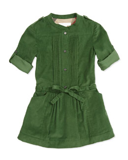 Burberry Pleated Corduroy Dress, Grass Green, 4Y-14Y