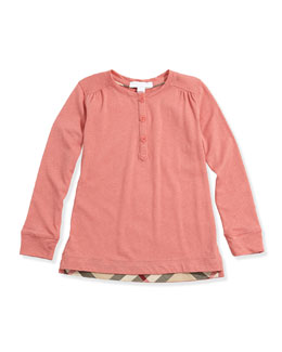 Burberry Girls' Check-Detail Henley, Pale Cameo Rose, 4Y-14Y