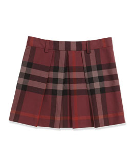 Burberry Check Pleated Skirt, Deep Claret, 4Y-14Y