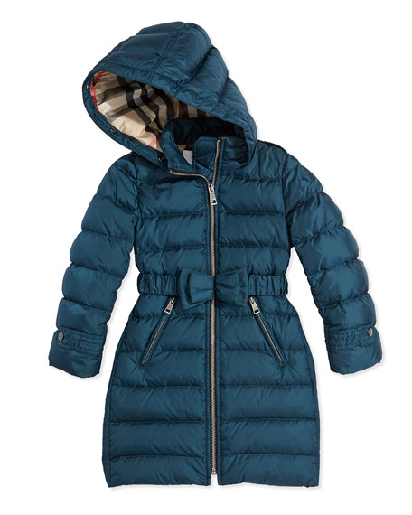 Fur-Trimmed Bow-Belt Long Puffer Coat, Teal, 4Y-14Y