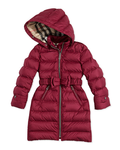 Fur-Trimmed Bow-Belt Long Puffer Coat, Fritillary Pink, 4Y-14Y