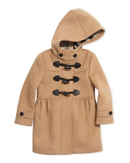 Burberry GIrls' Toggle Coat with Hood, New Camel, 4Y-14Y