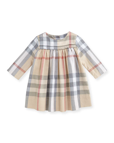 Burberry Long-Sleeve Check Dress with Bloomers, 3-24 Months