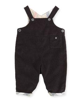 Burberry Fine-Wale Corduroy Overalls, Black, Infants 3-24 Months