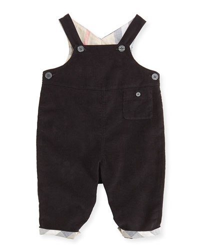 Burberry Fine-Wale Corduroy Overalls, Black, Infants 3-24 Months