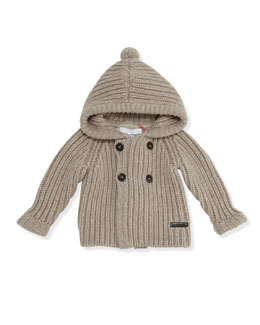 Burberry Cashmere-Knit Hooded Cardigan Sweater, Oatmeal, 3-24 Months