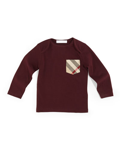 Burberry Check-Pocket Crewneck Tee, Deep Claret, Sizes 3M-3Y